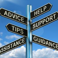 Directional signs that say Advice, Tips, Assistance, Help, Support and Guidance